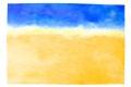 """Lucius Pax : Small Painting 2001 1 : Torres Daxler 15 : acrylic on paper : 70 x 50 cm : title : Frau Müller: """"Mein Mann hat das Bild gemalt. Und warum muss alles in der Mitte hängen?"""" Torres Daxler: """"Ich stelle hier die Fragen. Ich sehe nur leere Wüste!"""" I've seen this painting before."""