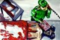 """Lucius Pax : Small Painting 2012 17 : Torres Daxler 18 : pencil & gouache on paper : 65 x 50 cm : title : Torres Daxler: """"Daxler."""" Gerichtsmediziner Dr. Krause: """"Krause."""" Torres Daxler: """"Ah Dr. Krause, was gibt's? Gerichtsmediziner Dr. Krause: """"Ein Brief."""""""