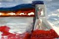 "Lucius Pax : Small Painting 2012 19 : Torres Daxler 20 : pencil & gouache on paper : 65 x 50 cm : title : Torres Daxler: ""D.R.?"" Gerichtsmediziner Dr. Krause: ""Der Rächer!"""