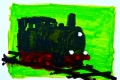 Lucius Pax : Small Painting 2003 3 : Train 3 : acrylic on paper : 70 x 50 cm : untitled