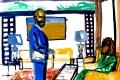 """Lucius Pax : Small Painting 2012 21 : Torres Daxler 22 : pencil & gouache on paper : 65 x 50 cm : title : Torres Daxler: """"Hatte ihr Mann Foto's aus dem Zweiten Weltkrieg?"""" Frau Müller: """"Nein."""" Torres Daxler: """"Hatte er Freunde aus dem Zweiten Weltkrieg? Frau Müller: """"Nur Hänschen. Er wohnt in Fischbeck."""" Somehow the living room changed."""