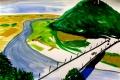 """Lucius Pax : Small Painting 2012 22 : Torres Daxler 23 : pencil & gouache on paper : 65 x 50 cm : title : Torres Daxler: """"In Fischbeck also. Damit ist Hänschen gleich verdächtig. Mal sehen wo er zum Zeitpunkt des Mordes war."""""""