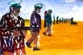 """Lucius Pax : Small Painting 2012 33 : Torres Daxler 34 : pencil & gouache on paper : 65 x 50 cm : title : Torres Daxler: """"Wir rufen unsere Kollegen. Jedenfalls ist Frau Müller noch immer verdächtig. Sie wusste dass wir Hänschen besuchen würden."""""""