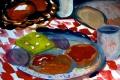 """Lucius Pax : Small Painting 2012 37 : Torres Daxler 38 : gouache on paper : 65 x 50 cm : title : Am nächsten Morgen. Torres Daxler: """"Mir ist übel, ich habe zuviel gesoffen."""""""