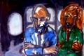 "Lucius Pax : Small Painting 2012 41 : Torres Daxler 42 : pencil & gouache on paper : 65 x 50 cm : title : Axel: ""Hätten wir nicht Frau Müller besuchen sollen?"" Torres Daxler: ""Schnauze!"""